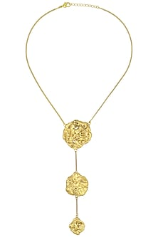 Gold Plated Three Drop Textured Necklace by Flowerchild By Shaheen Abbas