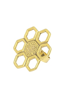 Gold Plated Geometric Flower Ring by Flowerchild By Shaheen Abbas
