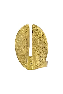 Gold Plated Textured Cutout Ring by Flowerchild By Shaheen Abbas
