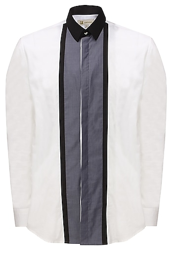 White and grey panelled button down shirt by Sahil Aneja