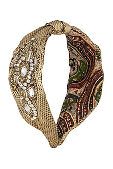 Golden Embroidered Turban Band by Studio Accessories