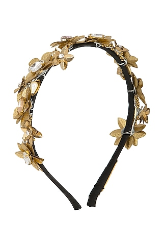 Golden Embellished Metal Hairband by Studio Accessories