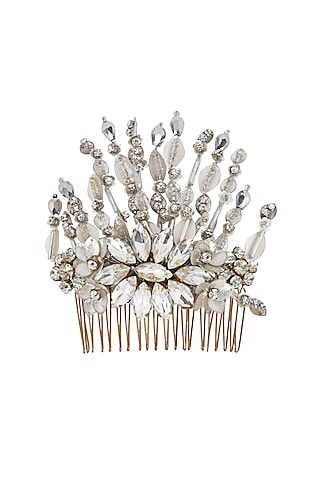 Silver Floral Embellished Hair Comb by Studio Accessories