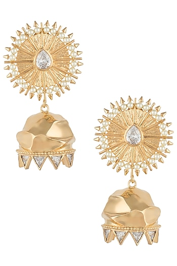 Gold plated zircon textured jhumki earrings by Flowerchild By Shaheen Abbas