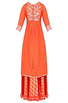 Orange Gota Patti Work Kurta and Skirt Set by Sukriti & Aakriti