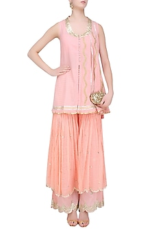 Pink Gota Patti Work Kurta and Sharara Set by Sukriti & Aakriti