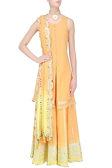 Orange and Yellow Ombre Gota Patti Embroidered Kurta and Skirt Set by Sukriti & Aakriti