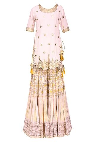 White Floral Gota Patti Embroidered Kurta and Skirt Set by Sukriti & Aakriti