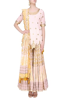 White Floral Gota Patti Embroidered Kurta and Skirt Set by Sukriti & Aakriti