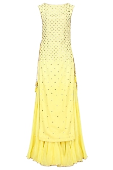 Yellow Floral Embroidered Long Kurta and Skirt Set by Sukriti & Aakriti