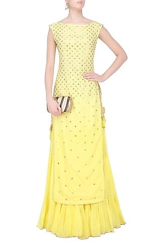 Yellow Floral Embroidered Long Kurta and Skirt Set by Sukriti & Aakriti