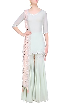 Pale Blue Sequins Embroidered Kurta and Sharara Pants Set by Sukriti & Aakriti