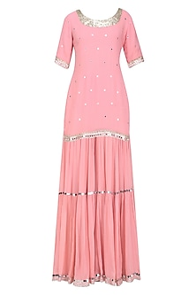 Pink Sequins and Gota Patti Work Kurta and Skirt Set by Sukriti & Aakriti