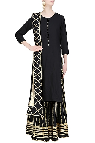 Black and Gold Gota Patti Work Kurta and Sharara Set by Sukriti & Aakriti