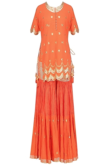 Dark Orange and Gold Sequins and Gota Patti Work Kurta and Sharara Set by Sukriti & Aakriti