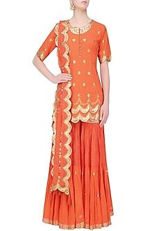 Dark Orange and Gold Sequins and Gota Patti Work Kurta and Sharara Set by Sukriti & Aakriti