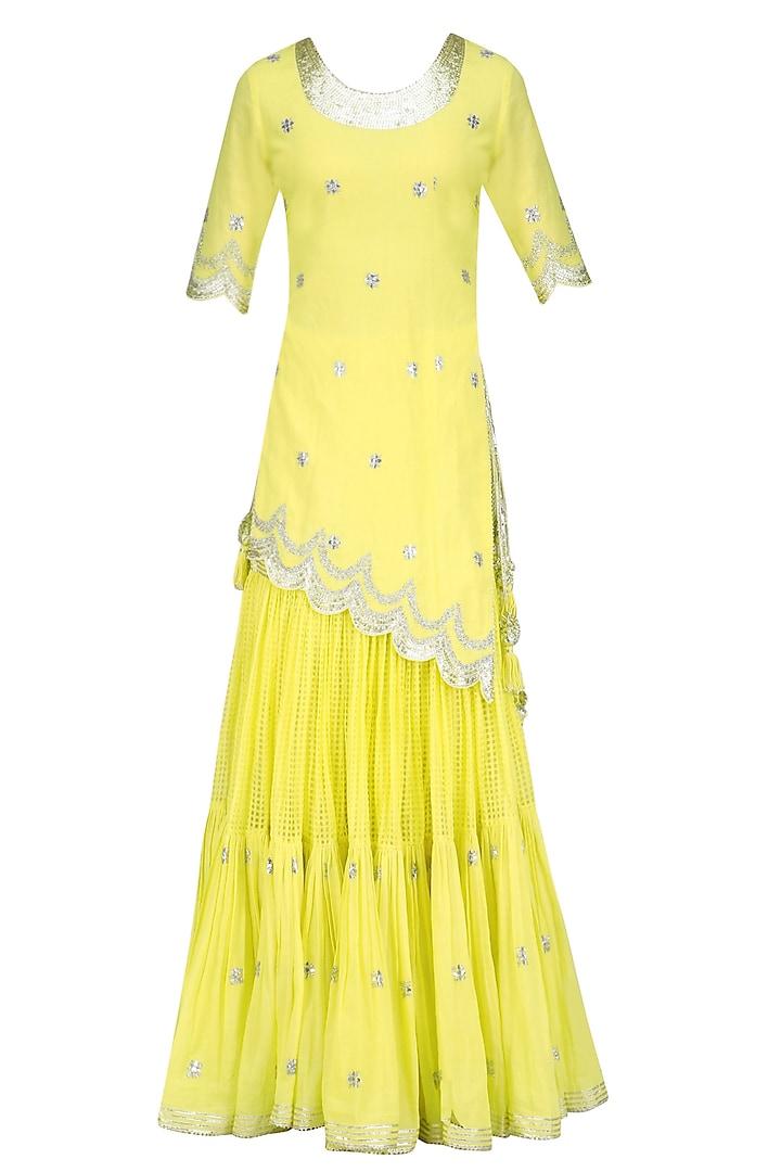 Lemon and Gold Gota Patti Work Kurta and Frilled Skirt Set by Sukriti & Aakriti