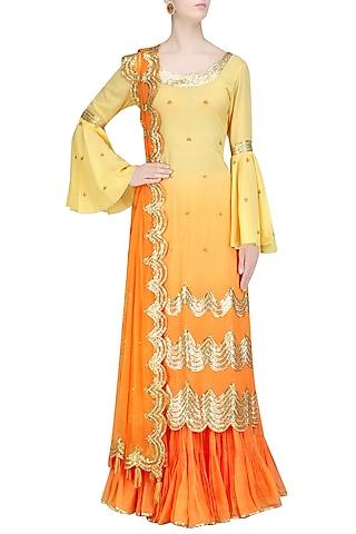 Ombre Orange and Gold Gota Patti Work Kurta and Frilled Skirt Set by Sukriti & Aakriti