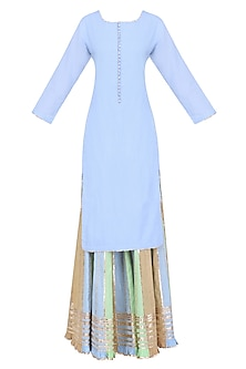 Powder Blue Gota Patti Work Kurta and Sharara Pants Set by Sukriti & Aakriti