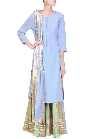 Powder Blue Gota Patti Work Kurta and Sharara Pants Set by Sukriti & Aakriti