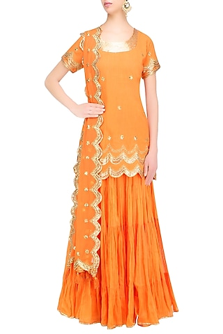 Orange Gota Patti Work Kurta and Sharara Pants Set by Sukriti & Aakriti