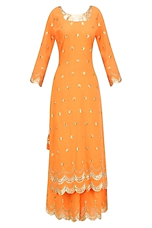 Orange Gota Patti Work Pakistani Kurta and Sharara Pants Set by Sukriti & Aakriti