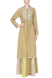 Dark Beige Gota Patti Work Kurta and Skirt Set by Sukriti & Aakriti