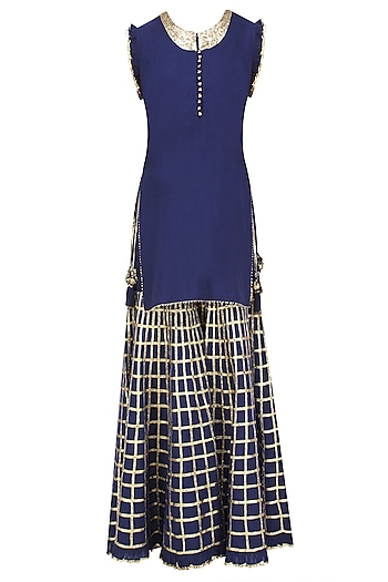 Navy Blue Gota Patti Work Kurta and Sharara Pants Set by Sukriti & Aakriti