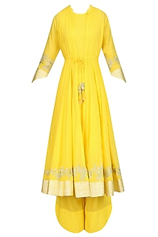 Yellow Gota Patti Work Jacket Kurta, Inner and Pants Set by Sukriti & Aakriti