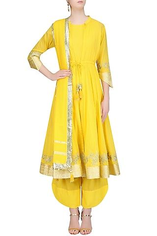 Yellow Gota Patti Work Jacket Kurta, Inner and Pants Set by Sukriti & Aakriti