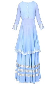 Light Blue Gota Patti Work Kurta and Skirt Set by Sukriti & Aakriti