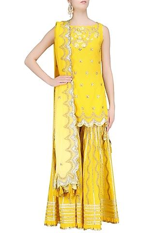 Yellow Gota Patti Work Kurta and Sharara Pants Set by Sukriti & Aakriti
