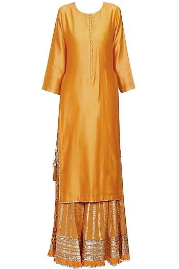 Orange and silver gota patti embroidered kurta and sharara pants set by Sukriti & Aakriti