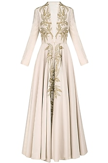 Ivory Zari Work Long Sleeves Front Open Gown by Samant Chauhan