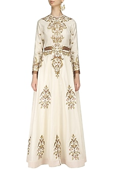 Ivory Embroidered Long Sleeves Front Open Gown by Samant Chauhan