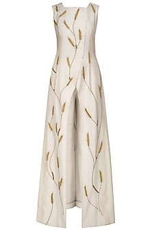 Ivory Embroidered Front Open Overlap Gown by Samant Chauhan
