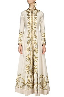 Ivory Front Open Floral Embroidered Gown by Samant Chauhan