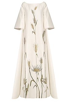 Ivory Floral Embroidered Boat Neck Gown by Samant Chauhan