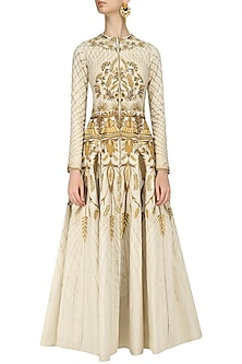 Ivory Heavy Floral Embroidered Gown by Samant Chauhan