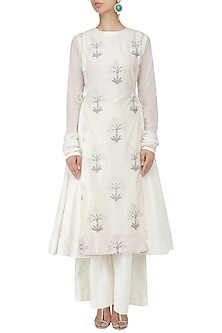 White Block Printed Kalidaar Kurta and Palazzo Pants Set by Samant Chauhan