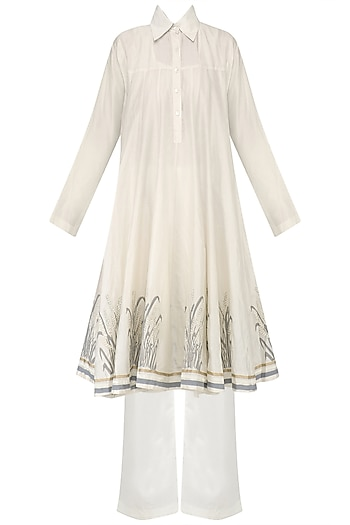 White Block Print Kalidaar Kurta and Palazzo Pants Set by Samant Chauhan
