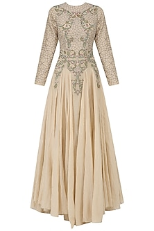 Nude Zari Embroidered Flared Gown by Samant Chauhan