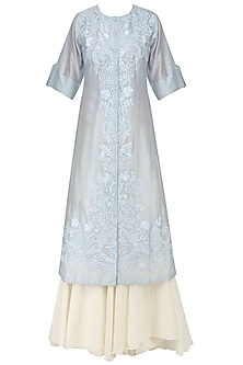 Blue Floral Embroidered Kurta and Inner Set by Samant Chauhan