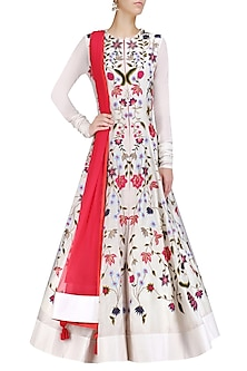 Off White Silk Thread and Zari Embroidered Gown by Samant Chauhan
