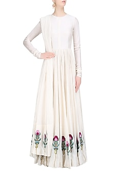 Off White Silk Thread and Zari Floral Embroidered Gown by Samant Chauhan