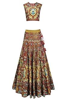 Red Silk Thread and Zari Embroidered Lehenga Set by Samant Chauhan