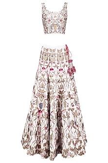 Off White Silk Thread and Zari Embroidered Lehenga Set by Samant Chauhan
