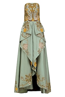 Green Silk Thread and Zari Embroidered Off Shoulder Gown by Samant Chauhan