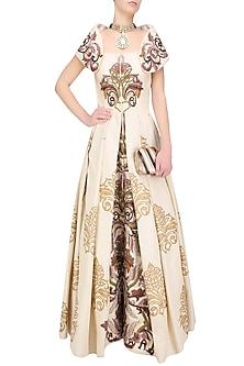 Gold Block Print and Zari Embroidered Front Open Gown by Samant Chauhan