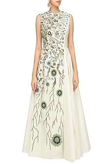 Off White Gown with Floral Embroidery by Samant Chauhan